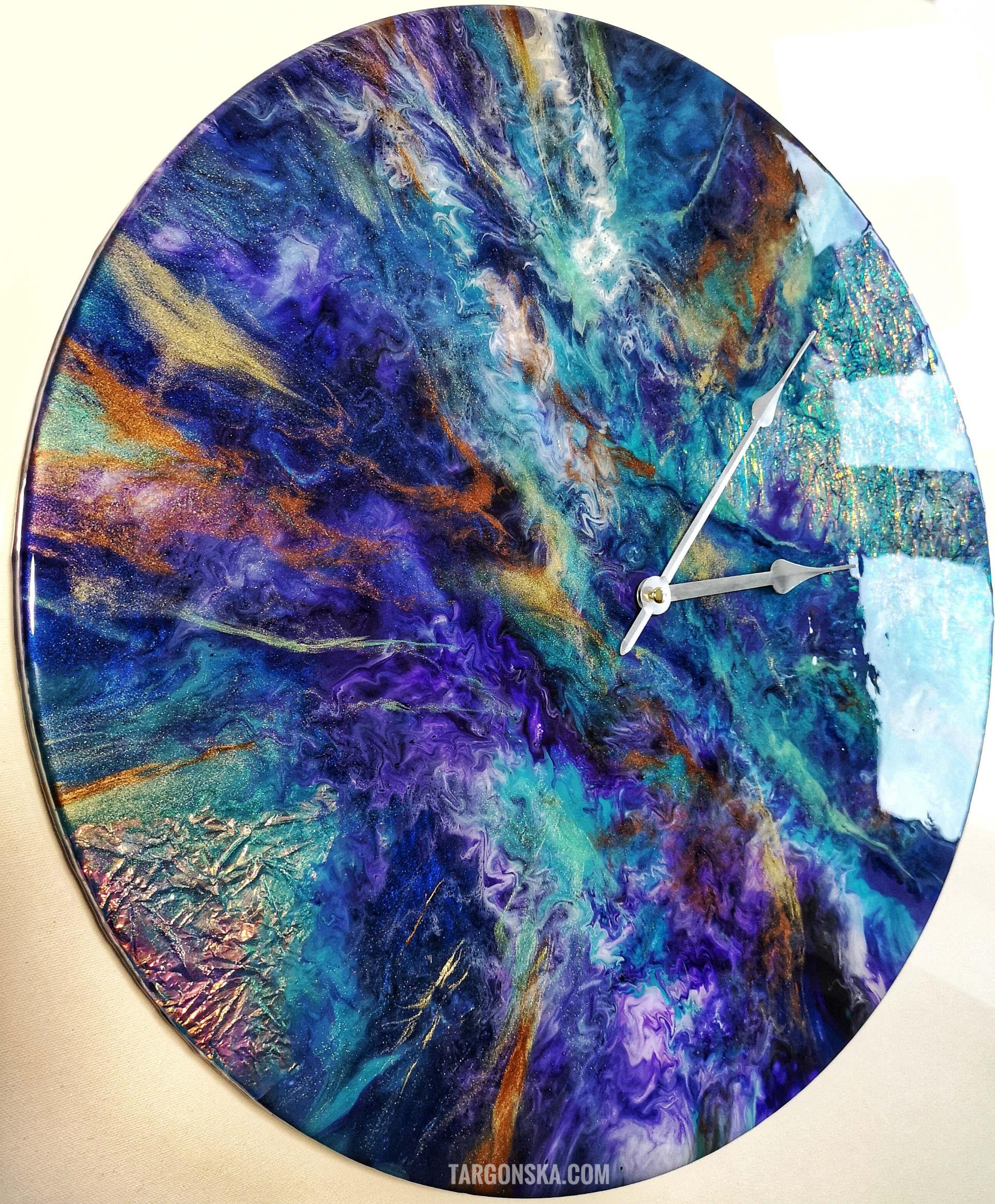 Resin Clock no 5 Cosmic Clock Targonska