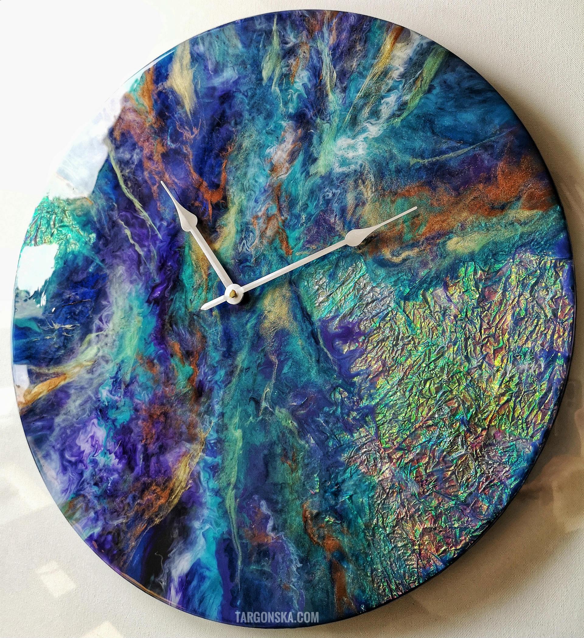 Resin art Clock no 5 Cosmic Clock Targonska on the wall