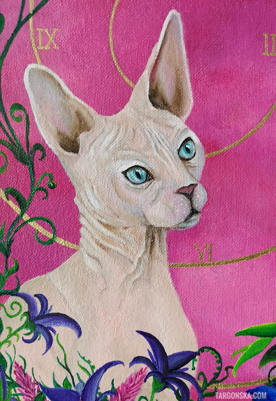 cat on Wake up painting malgorzata targonska